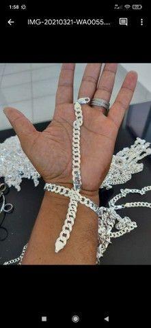 Corrente e pulseira em prata italiana 925 - Foto 2