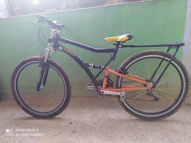 Bicicleta Caloi usada aro 26 troco por outra - Foto 2