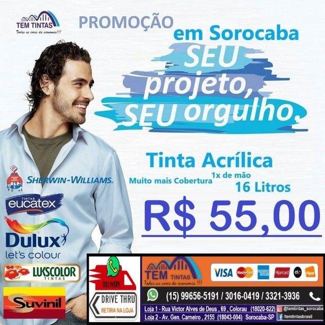@@Promoção Relâmpago - Tinta Acrílica de 16 L- Cobre 1x de mão - De: R$95,00 por 55,00