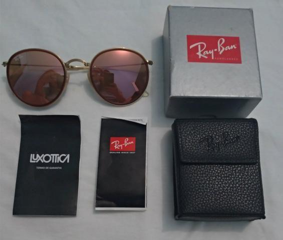 fdfe75a5d Óculos RayBan Original Round Dobrável - Dourado/Cobre Espelhado ...