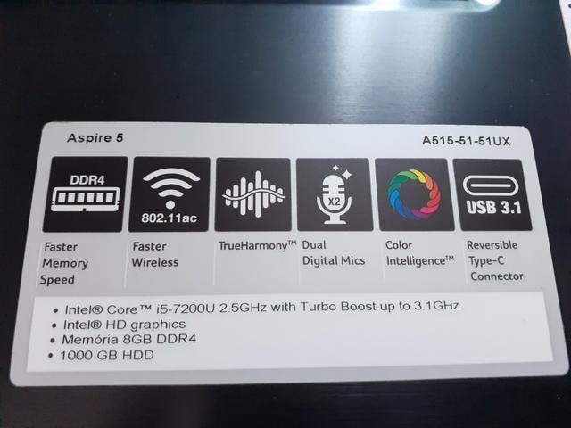 Torro Notebook Acer i5-7500U com 8GB RAM e Acabamento em Alumínio - Foto 5