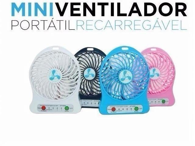 Mini ventilador portátil recarregável três velocidades e lanterna Promoçao