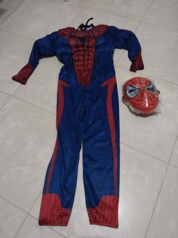 Fantasia infantil homen aranha com mascara de pvc