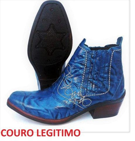 Bota country cor azul couro legitimo marca campolina - Foto 5