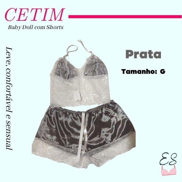 Camisola Pijama Baby Doll Shorts em Cetim Confortável Sensual G e GG - Foto 2