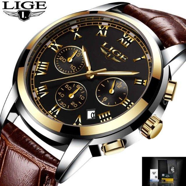Relógio Pulso Original Lige Prova D'água Masculino De Luxo - Foto 3