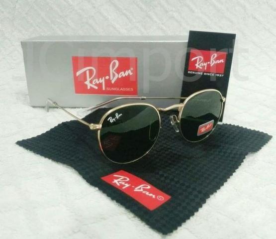 ef95624c8 Óculos de Sol Ray Ban Round Tradicional/ Dourado Lente Preta RB3447 Novo