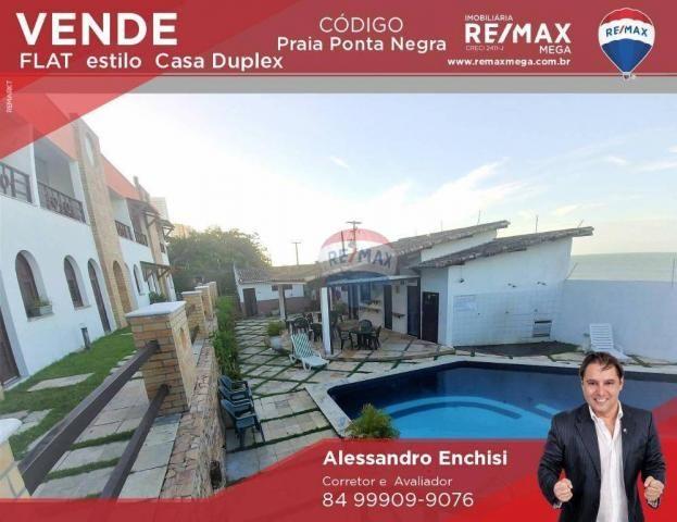 Flat estilo casa duplex com 2 dormitórios à venda, 57 m² por r$ 185.000 - ponta negra - na - Foto 2