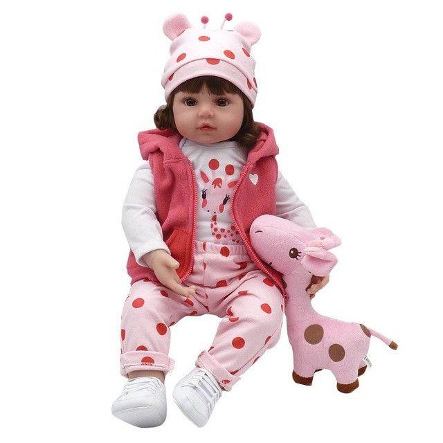 Bebê Reborn Boneca Realista 100% Silicone Girafa Criança - Foto 5