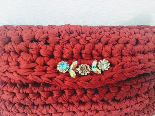 Bolsa carteira clutch em fio de malha alça de couro - Foto 3