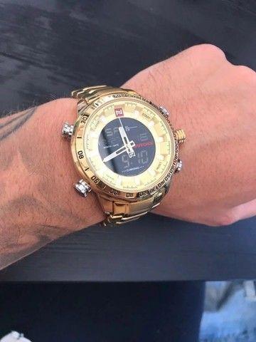 Relógio Masculino Naviforce Aviador 9093 Dourado Original a Prova D´agua - Foto 5