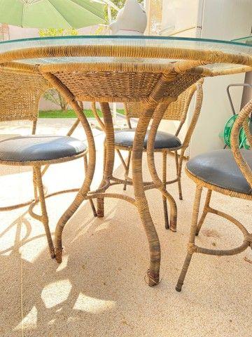 Mesa Rattan redonda 4 lugares + 4 cadeiras - Foto 4