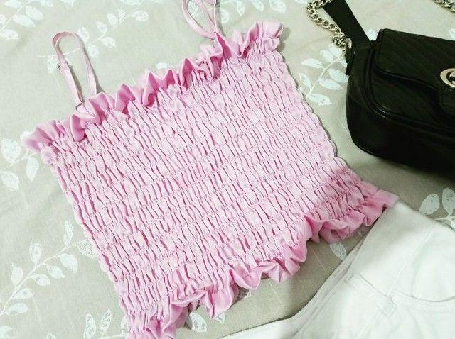 Cropped de seda na cor rosé