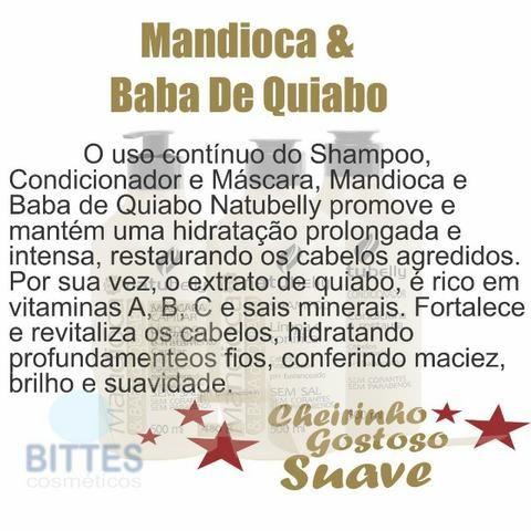 Hidratação Profunda Brilho e Maciez Para Cabelos Ressecados Mandioca com Quiabo Natubelly - Foto 3