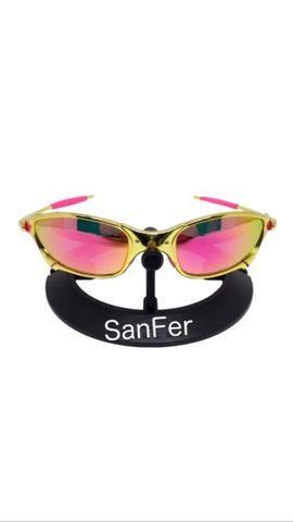 d236133f28a56 Oculos Oakley Juliet Doublex GOLD 24k armação de metal e lente polarizada  rosa e roxa