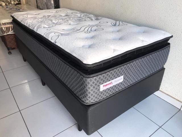 Cama Box Solteiro Palemax Titanium em Molas - Top de Linha!