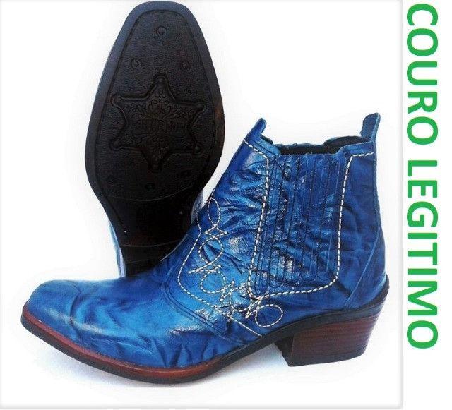 Bota country cor azul couro legitimo marca campolina - Foto 3