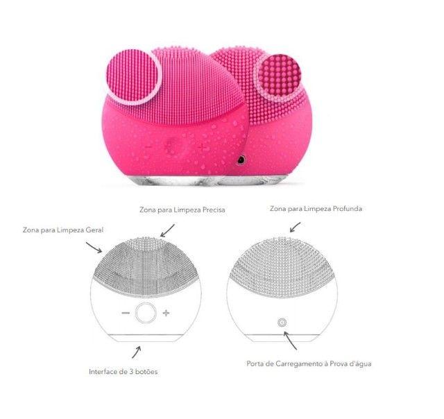 Esponja Escova Elétrica Massagem Limpeza Facial Recarregável - Foto 2