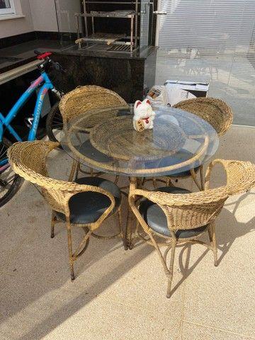 Mesa Rattan redonda 4 lugares + 4 cadeiras