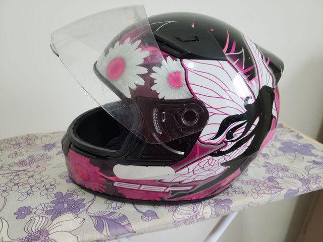 Capacete EBF feminino fada preto e rosa - Foto 2