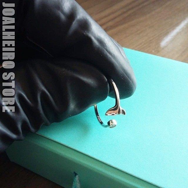 Lindo Anel de Prata Ajustável ao Dedo Novo na Caixa Mulher Feminino - Foto 3