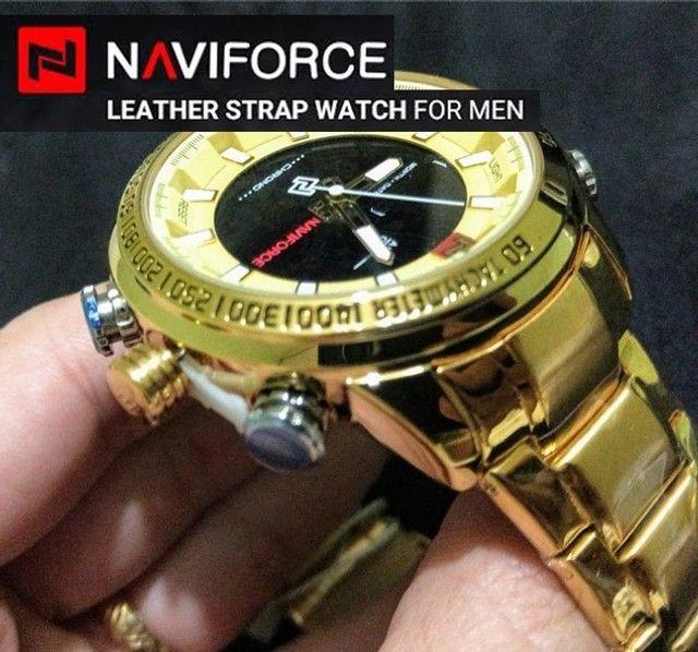 Relógio Masculino Naviforce Aviador 9093 Dourado Original a Prova D´agua - Foto 3