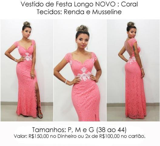 f5a87e712617 Vestido de Festa Longo Coral madrinha casamento formatura - Roupas e ...
