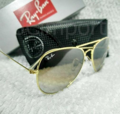 e0d2f3983 Óculos de Sol Ray Ban Aviador Marrom Degradê 3025/3026 Unissex ...