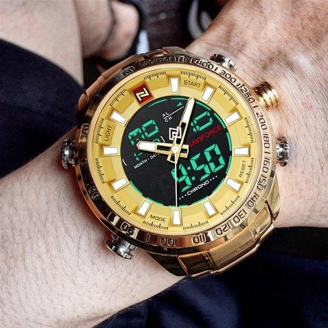 Relógio Masculino Naviforce Aviador 9093 Dourado Original a Prova D´agua
