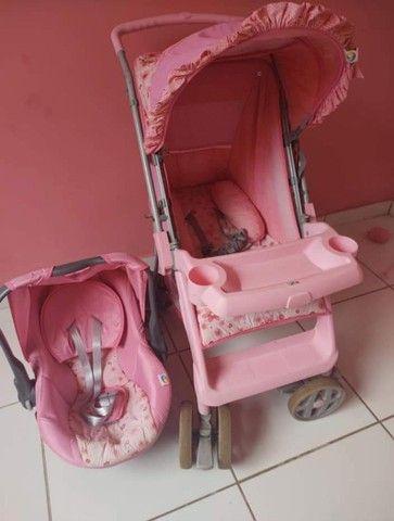 Carrinho e bebê conforto menina - Foto 5