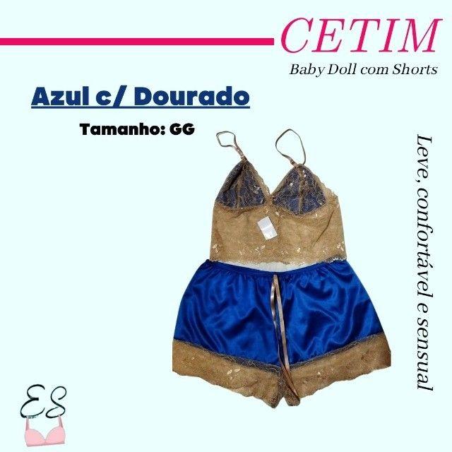 Camisola Pijama Baby Doll Shorts em Cetim Confortável Sensual G e GG - Foto 3