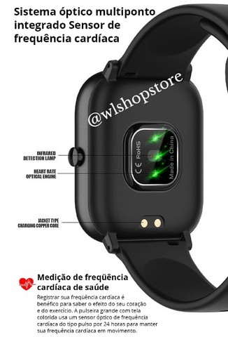 Relógio Inteligente Modelo P8 SE (Preto) + Película Tela (Brinde) Original - Foto 4