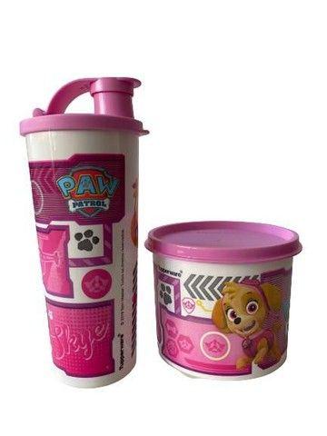 Kit Tupperware Patrulha canina rosa - tupper redondinha + copo com bico 470ml