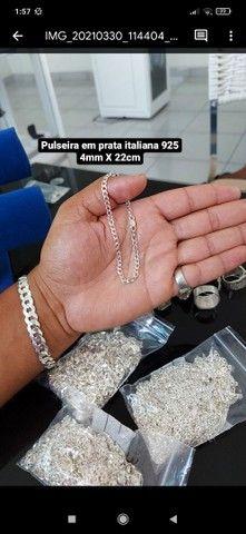 Corrente e pulseira em prata italiana 925 - Foto 5