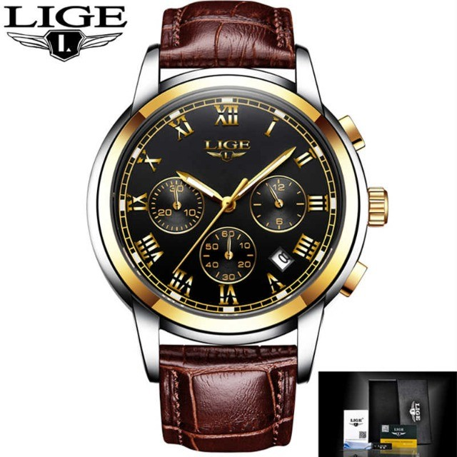 Relógio Pulso Original Lige Prova D'água Masculino De Luxo