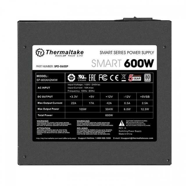 Fonte Thermaltake 600W 80 Plus White Smart Series,PFC Ativo,Nf e garantia , Loja Mega - Foto 2