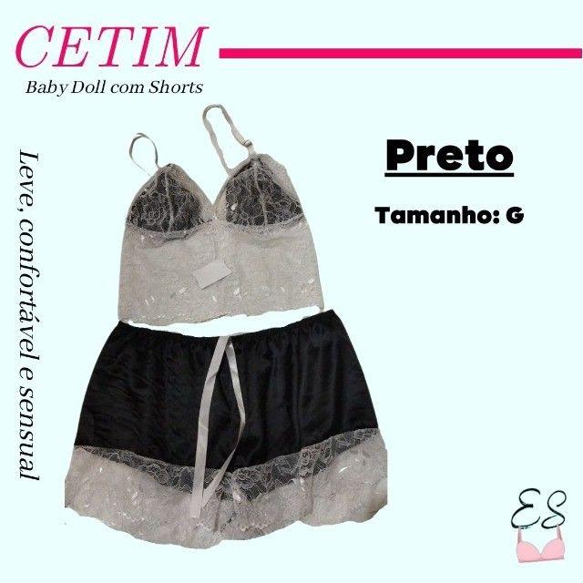 Camisola Pijama Baby Doll Shorts em Cetim Confortável Sensual G e GG