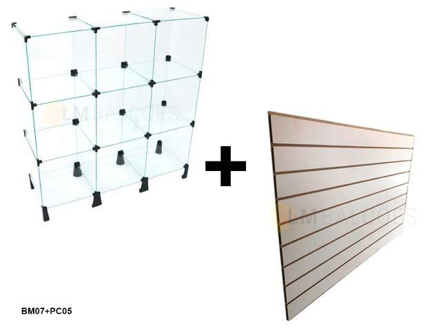 Balcao de vidro 0,90 x 1,00 x 0,30 + Painel Canaletado 0,91 x 0,91 frete gratis SP