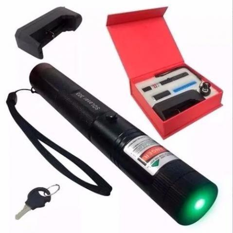 Super Caneta Laser Pointer Verde Longo Alcance Forte Estojo
