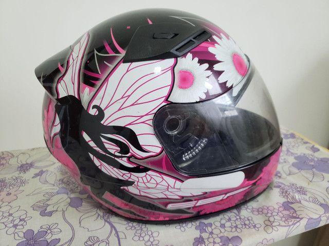 Capacete EBF feminino fada preto e rosa - Foto 3