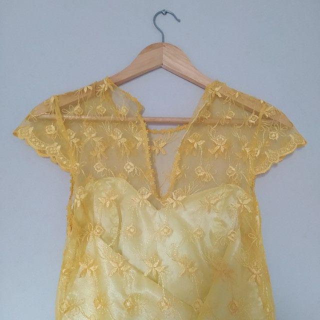 Vestido de festa amarelo - feito sob medida - usado apenas uma vez - Foto 2