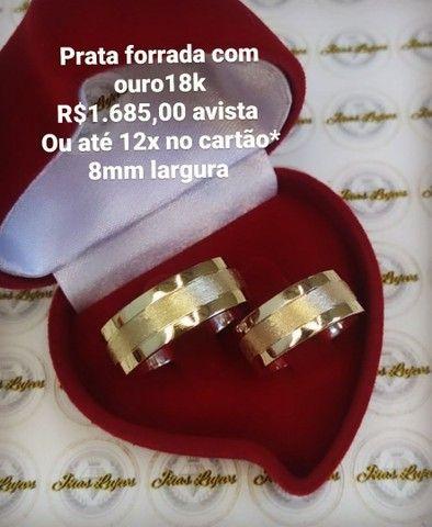 Casamento alianças de prata forradas com ouro18k