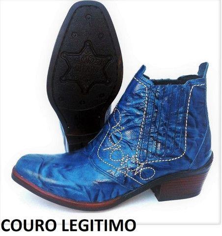 Bota country cor azul couro legitimo marca campolina