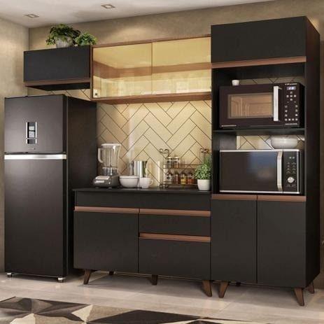 Cozinha Completa Madesa Reims 260001 com Armário e Balcão - Preto/Rustic  - Foto 2