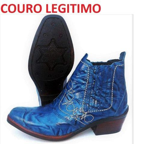 Bota country cor azul couro legitimo marca campolina - Foto 2