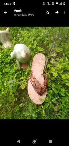 Sandálias artesanais de macramê