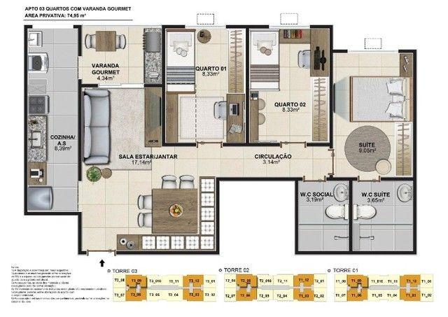 Jardim Central 2- últimas unidades!!Apartamentos de 3 quartos 76m- São Gonçalo  - Foto 14