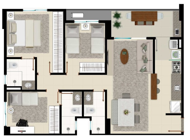 Ágio de Apartamento de 03 quartos com 02 suítes no Cerrado Family - Foto 12