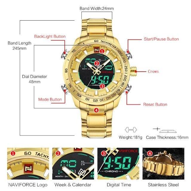 Relógio Masculino Naviforce Aviador 9093 Dourado Original a Prova D´agua - Foto 6