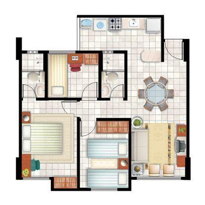 Apartamento 3 Quartos - 1 suíte